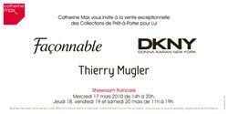 Announcement for upcoming sales: DKNY, Thierry Mugler and Faconnable