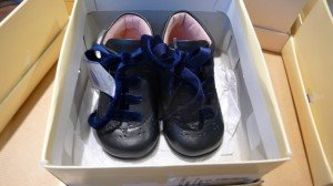 Soft leather childrens' shoes in pink and blue leather. Adorable!