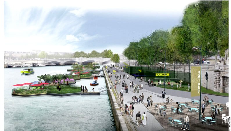 Sports areas and manmade island; this will be on of the best parts of Paris' transformation of the riverbanks!