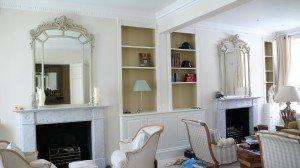 Almost finished living room! Fireplace mirrors with an antique French cream finish