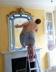 Step 1 - Employ College-aged Son to Tape Mirrors