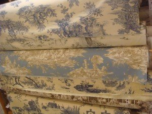 Another rack of toile de jouys in blues
