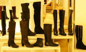 Flat boots at the Bon Marche in Paris