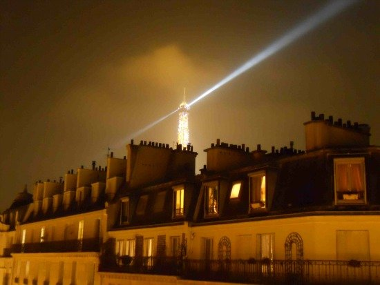 Night view of the Eiffel Tower from the Pomerol