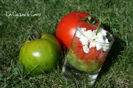 Salad Duo — Red and Green Tomatoes with a Basil and Feta Topping