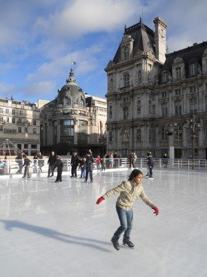 Ice Skating in Paris at the Hotel de Ville