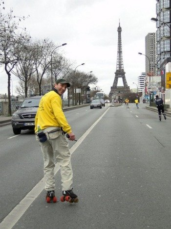 Rollerblading around the Eiffel Tower in Paris