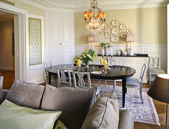 Paris dining room in Eiffel Tower view apartment