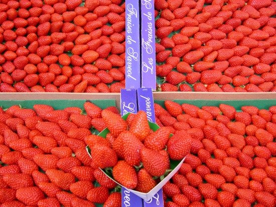 Paris Open Air Markets in the Spring Strawberries