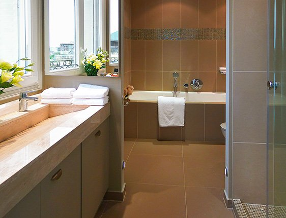 Taupe Bathroom Tiles Taupe Leather-look Tiles