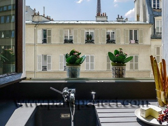 Paris Perfect Vacation Rental Kitchen with Eiffel Tower View