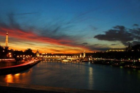 Paris Sunset Over Seine