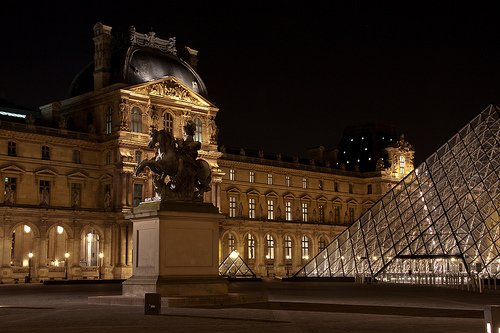 Visiting the Louvre Museum in Paris at Night