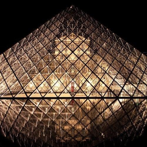 Paris Louvre Glass Pyramid at Night