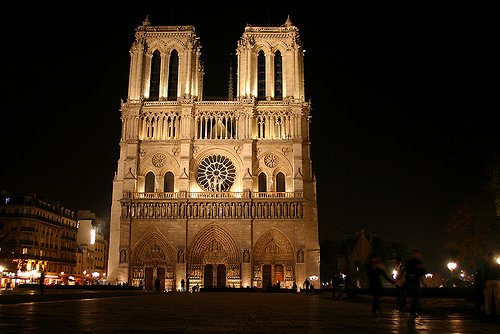 Visiting Notre Dame Cathedral at Night
