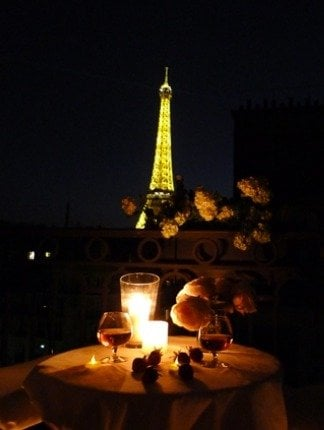 Paris Perfect Romantic Balcony Night Eiffel Tower