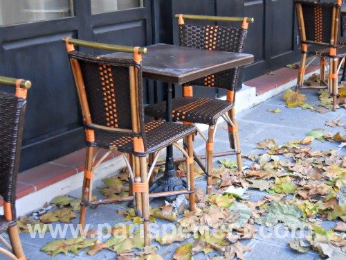 Paris Perfect Autumn Cafe Tables Leaves