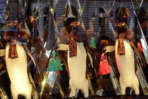 Paris Perfect Galeries Lafayette Christmas Windows 2012 Louis Vuitton Penguins