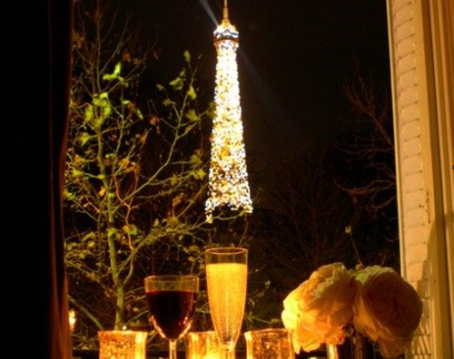 Paris Perfect eiffel light show from apartment window