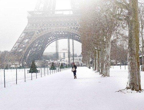 Paris Snow Champ de Mars Garden