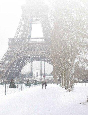 Snow Paris Eiffel Tower