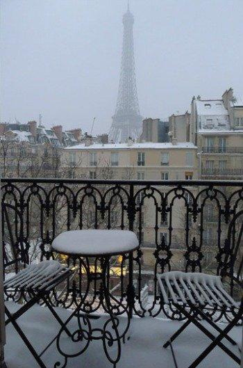 Paris balcony with wintry scene