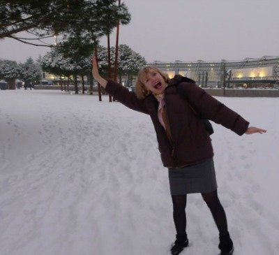 Playing in the snow in Paris