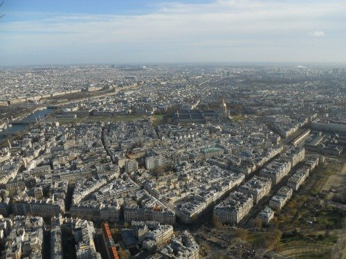 View of Les Invalides from top of Eiffel Tower