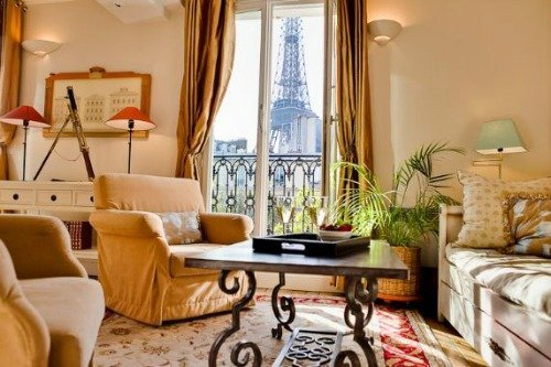 Cabernet One Bedroom Apartment for Sale Paris Living Room with Eiffel Tower Views