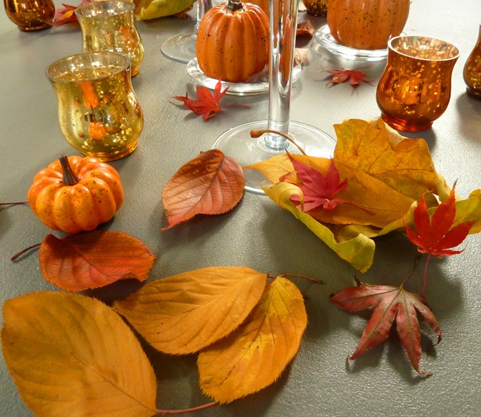 Decorating for Autumn – Table sprinkled with leaves
