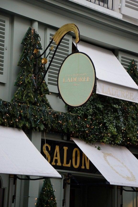 Christmas Decorations at Laduree Bonaparte in Paris