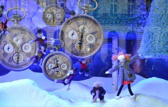Galeries Lafayette Christmas Windows Clocks 2013