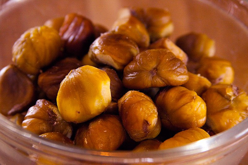 The chestnuts blend perfectly with the Asian style sauce