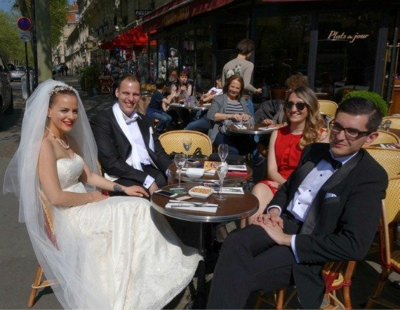 Wedding at Parisian Cafe