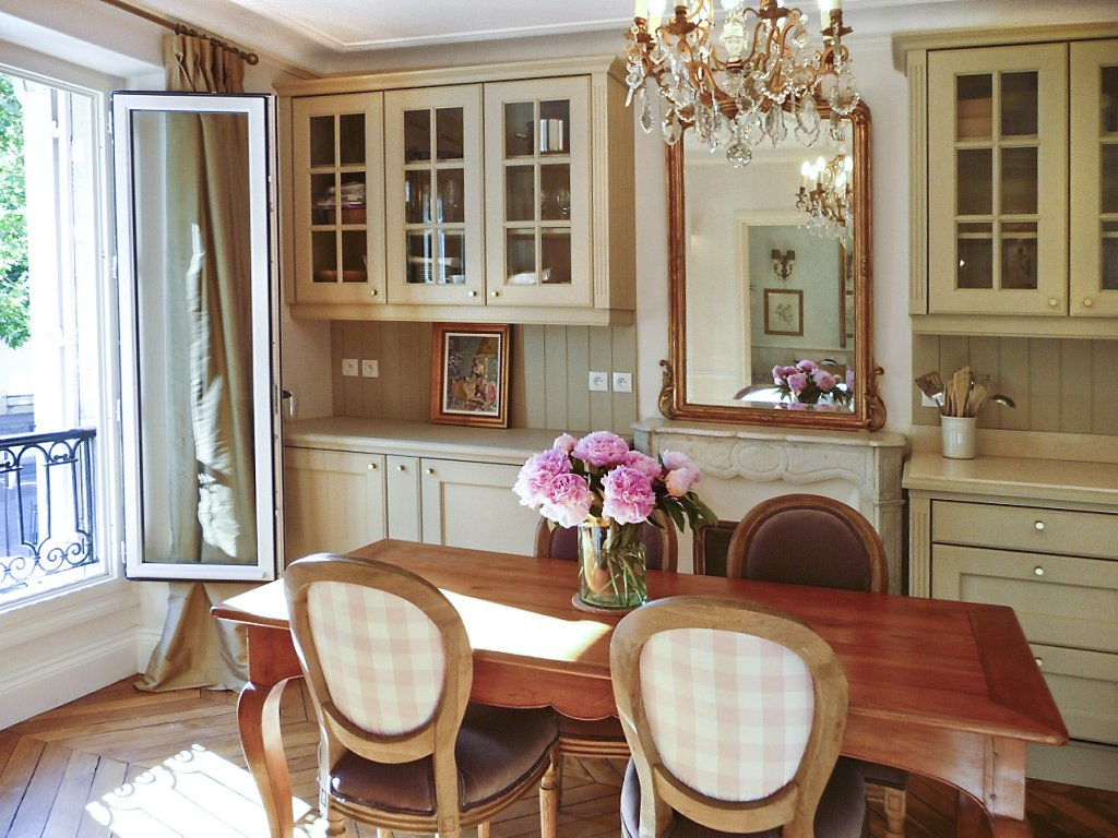 13 a French country kitchen with built in refrigerators under counter
