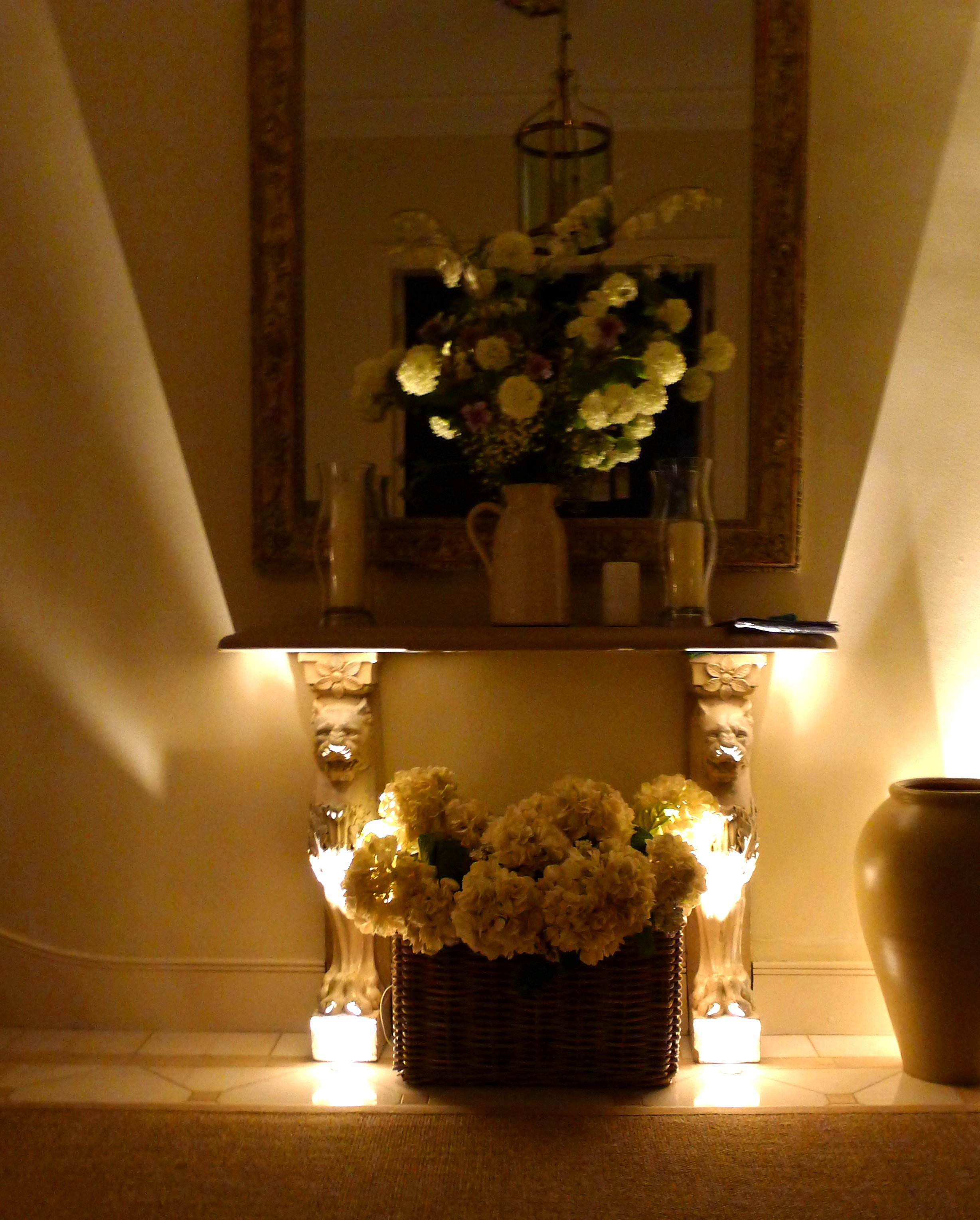 Lighting Basement Washroom Stairs: Beautiful Lighting Effects With LED Uplights!