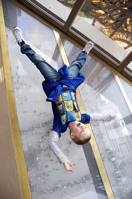 Eiffel Tower Glass Floor Brave Visitor