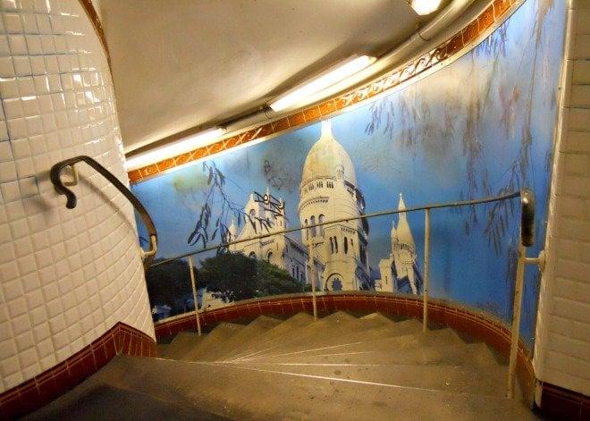 Paris Metro Stairs Montmartre