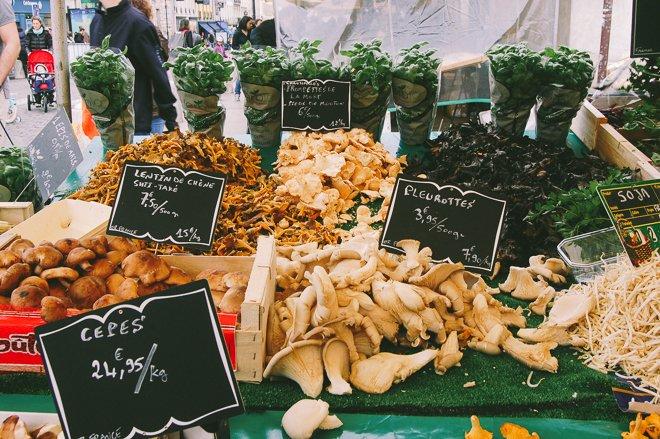 Marché Notre Dame of Versailles market produce fresh Paris mushrooms