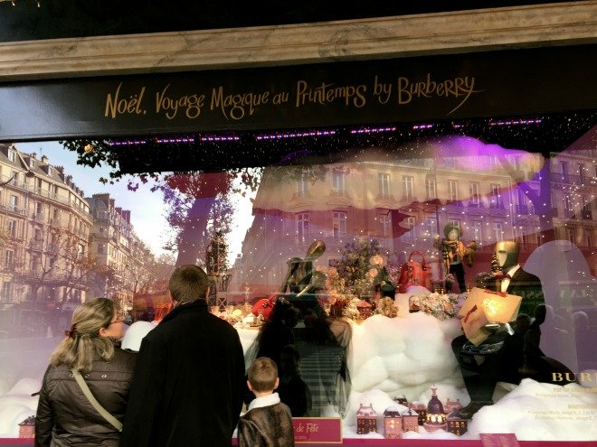 Noel Voyage Magique au Prentemps by Burberry Christmas Paris window displays