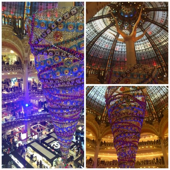 Galeries LaFayette upsidedown Christmas tree windows monsters
