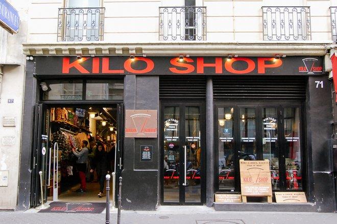 Kilo Shop Vintage clothing store Paris bargain shopping walking