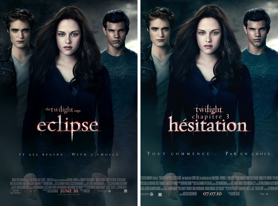 Someone in the publishing industry was paid to make the decision of changing already French word 'Eclipse' to also French word 'Hesitation'