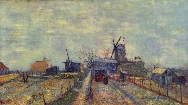 'Vegetable gardens and the Moulin de Blute-Fin on Montmartre', 1887, Vincent van gogh