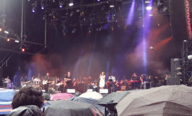 Welcoming in the wet weather season at one of the many concerts held during the 2014 Festival.