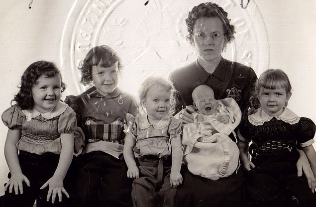 Five Little Girls and Mom — Passport Photo on the way to Naples!  I'm on the far right, looking serious… Sister 6, Lisa, was born a year later…
