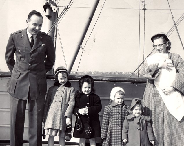 My sisters and I heading to Naples on-board the USS Constitution in February , 1954.