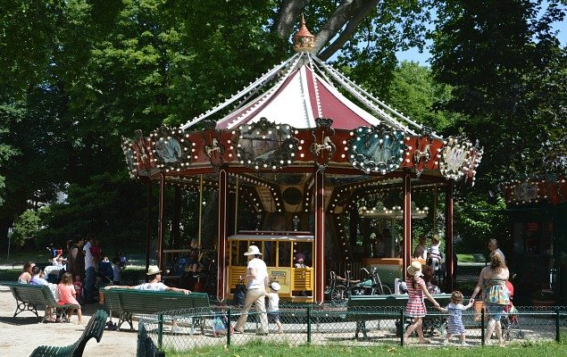 Enchanting carousels, like this one in Parc Monceau, are found in parks throughout Paris.