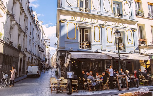 The famed food market street rue Montorgeuil.