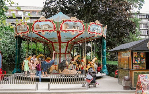 A Carousel in the Jardin des Plantes in Paris, France